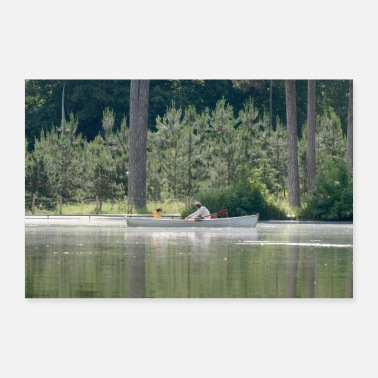 Fathers Day Lake rowboat father son - Poster 36 x 24 (90x60 cm)