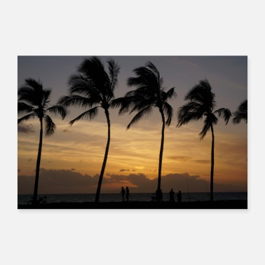 Hawaii Hawaii sunset palm trees fisherman sea - Poster 36 x 24 (90x60 cm)