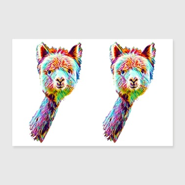 Psychedelic Lama Poster Quer - Poster 90x60 cm