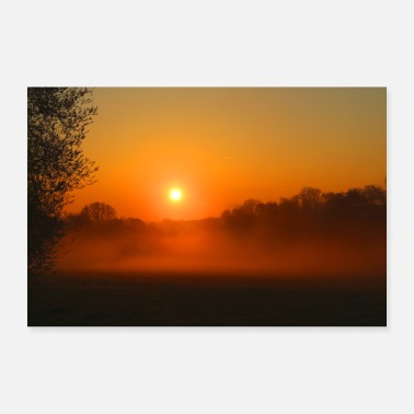 Brilliant Sunset with fog - Poster 36 x 24 (90x60 cm)