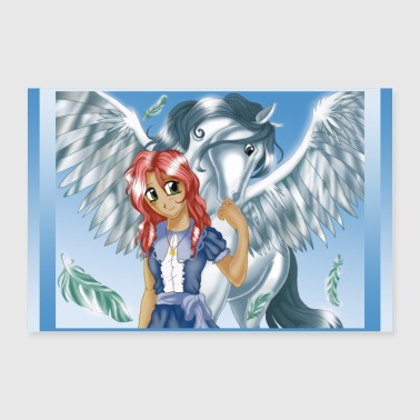 Girl and Pegasus - Poster version - Poster 36 x 24 (90x60 cm)