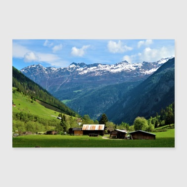Mountains with hut - Poster 36 x 24 (90x60 cm)