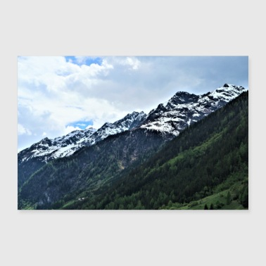 Mountains clouds forest - Poster 36 x 24 (90x60 cm)