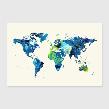 Travel world map travel - Poster 36 x 24 (90x60 cm)
