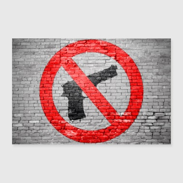 Prohibition Stop Wepons Graffiti Sign - Poster 36 x 24 (90x60 cm)