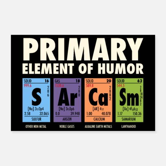 Chemistry Posters - S Ar Ca Sm - Periodic Table of Humor - Posters white