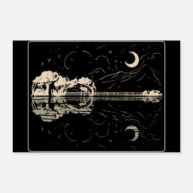 Konsert Guitar Lake Shadow - Musikkinstrument Musiker Band - Poster 90x60 cm