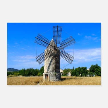 Spanish Windmill on field in Mallorca - Poster 36 x 24 (90x60 cm)