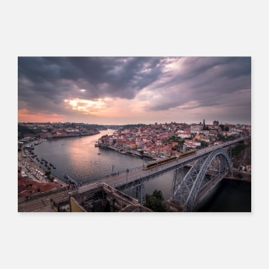 Portugal Porto stad panorama - Poster 90x60 cm