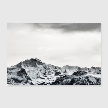 Switzerland Black and white mountains in Switzerland - Poster 36 x 24 (90x60 cm)