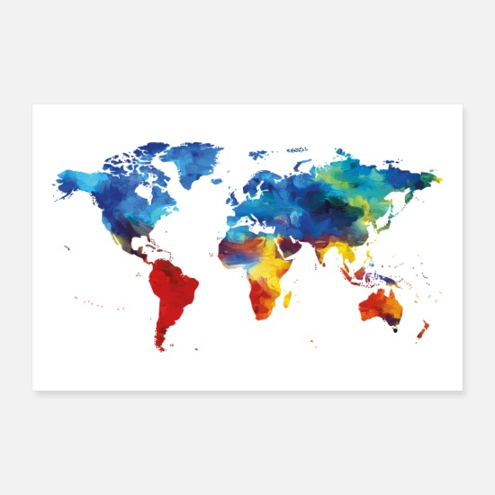 Travel Posters - map of the world - Posters white