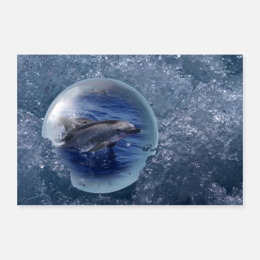 Freedom Glass ball in the sea - Dolphins - No. 1 - Poster 36 x 24 (90x60 cm)