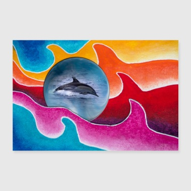 Wilderness New Style 3 with blue ball and common dolphin - Poster 36 x 24 (90x60 cm)