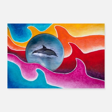 Animal New Style 3 with blue ball and common dolphin - Poster 36 x 24 (90x60 cm)