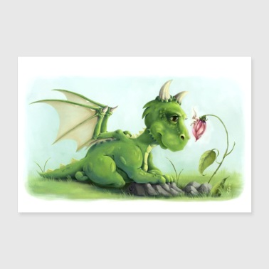 Elf Children's mural Nursery Dragon and fairy poster - Poster 36 x 24 (90x60 cm)