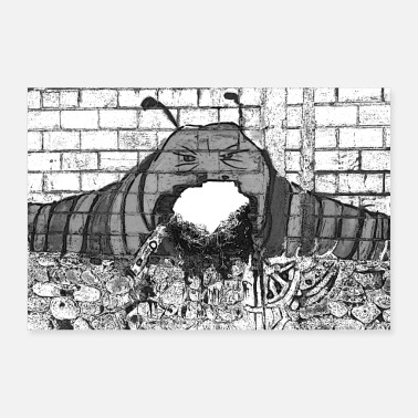 Caterpillar Caterpillar Always Sated Graffiti - Poster Gift Idea - Poster 36 x 24 (90x60 cm)