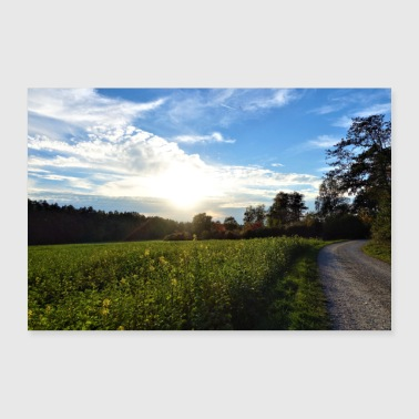 Cloud Flower field, blue sky, sun and clouds - Poster 36 x 24 (90x60 cm)