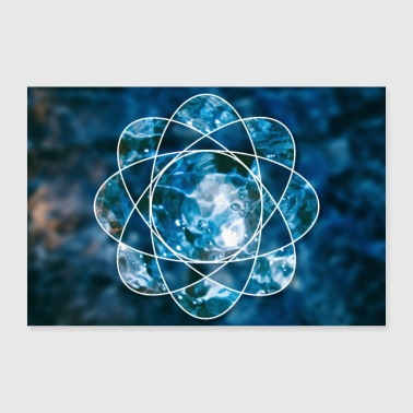 Stylish Nature water fire atom - Poster 36 x 24 (90x60 cm)