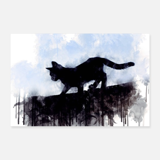 Black Posters - Little cute cat in vintage black and white look - Posters white