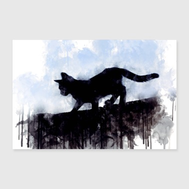 Romantic Little cute cat in vintage black and white look - Poster 36 x 24 (90x60 cm)