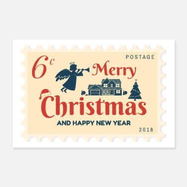 Happy New Year 6 cent stempel Merry Christmas & Happy New Year - Poster