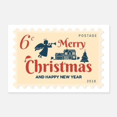 Stempel 6 cent stempel Merry Christmas & Happy New Year - Poster 90x60 cm