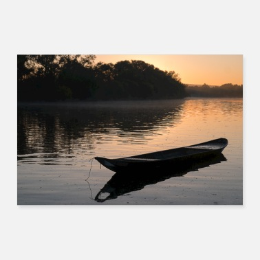 Boat Sunrise with boat - Poster 36 x 24 (90x60 cm)