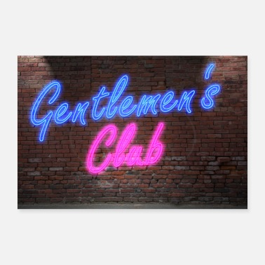 Polterabend Neon Lettering Gentlemans Club on Wall Poster - Poster 90x60 cm