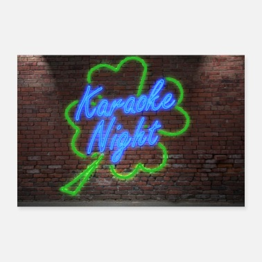 Logo Neon Lettering Karaoke Night on Brick Wall Poster - Poster 90x60 cm