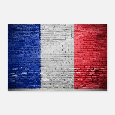 Franzosenfahne french flag Graffiti on Brick Wall - Poster