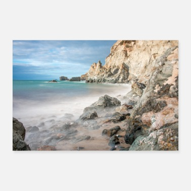 Agnes Rock Formation Landscape Cornwall South England - Poster