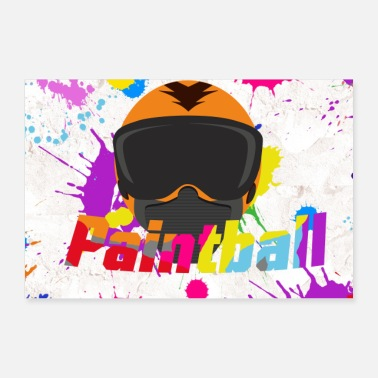 Paintball Paintball mask with lettering and background - Poster 36 x 24 (90x60 cm)