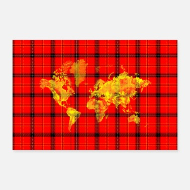 Geographic Red Tartan World Map Artwork - Poster 36 x 24 (90x60 cm)