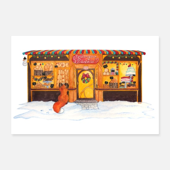 Snowman Posters - Christmas bakery and pastry: Renard gourmand - Posters white