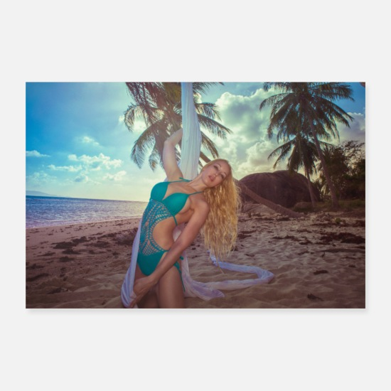 Sand Posters - Girl with silk in the sand on an abandon island - Posters white