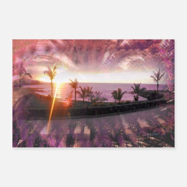 Palm Trees Evening sun under the palm trees - Poster 36 x 24 (90x60 cm)