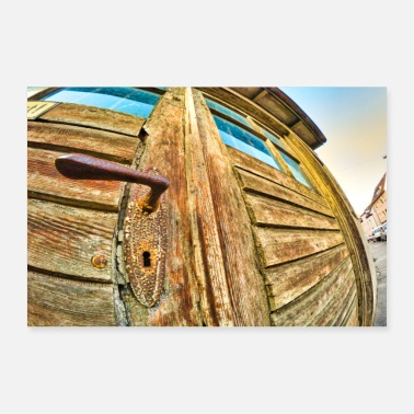Iron Metal old wooden door with the fish eye photographed - Poster 36 x 24 (90x60 cm)