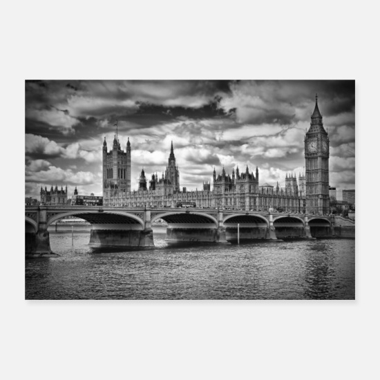 Bridge Poster - LONDON Houses of Parliament & Westminster Bridge - Poster Weiß