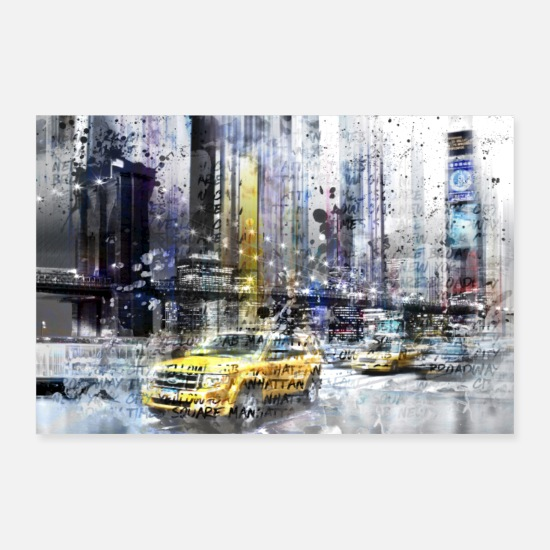 Auto Poster - City-Art NYC Collage - Poster Weiß