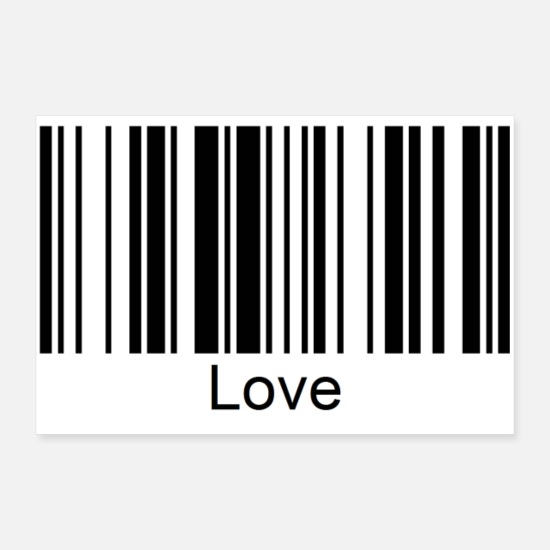 Love Posters - Love barcode with font - Posters white