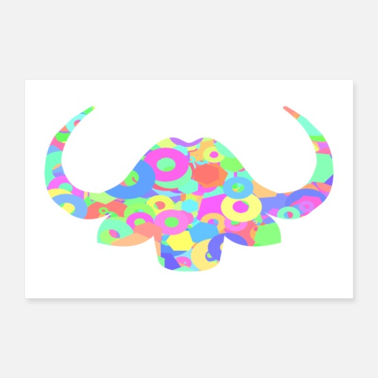 Gift Idea Posters - ox shilluette poster colorful bright shapes - Posters white