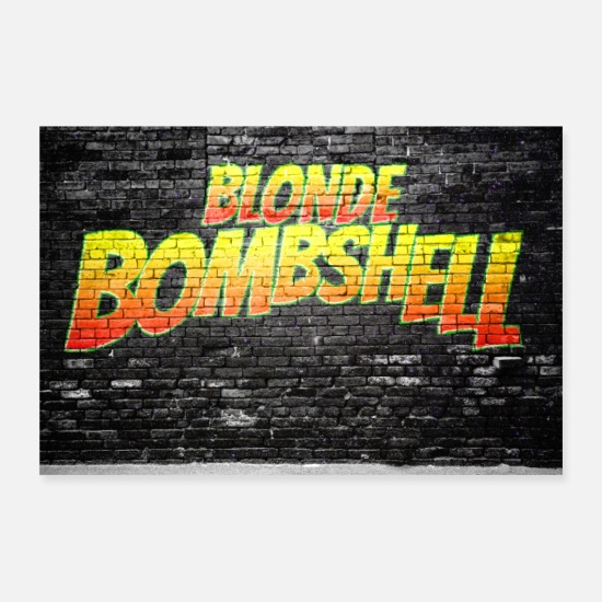 Symbool Posters - Blonde Bombshell Comic Lettering Brick Wall - Posters wit