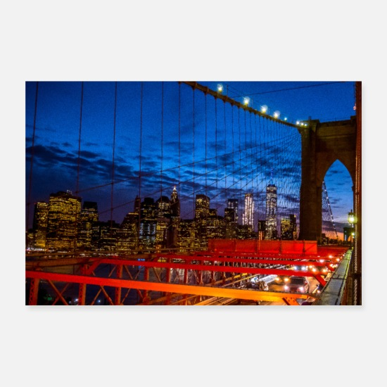 New York Poster - Brooklyn Bridge New York - Poster Weiß