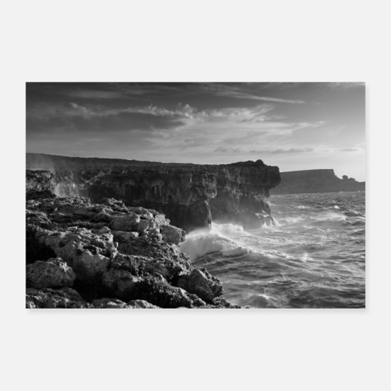 Waves Posters - Coast of Malta - Posters white