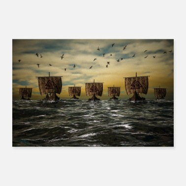 Viking ships on the high seas Poster Gift - Poster