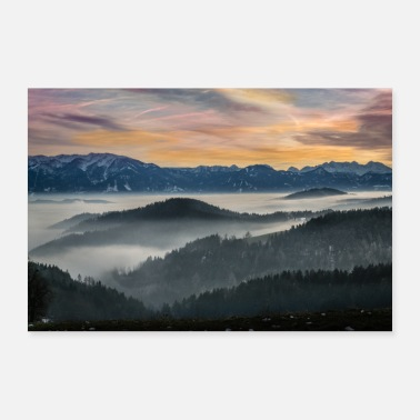 Landschap Lavant Valley mist landschap - Poster