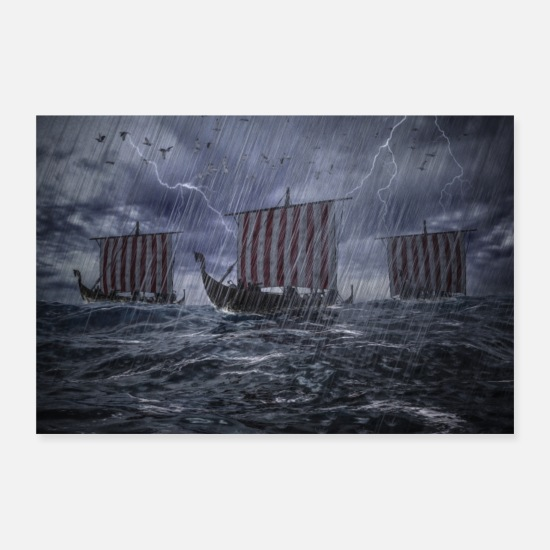 Rain Posters - Viking ships on the high seas in storm and rain - Posters white