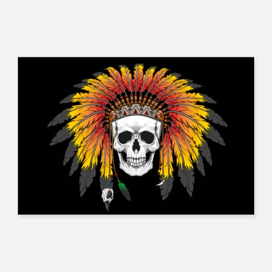 Death Posters - Indian Skull - Posters white