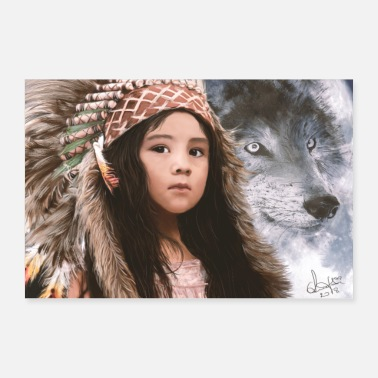 Indiaan Native Girl & Wolf - Poster