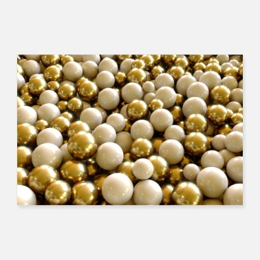 Elite abstract golden and white balls - Poster